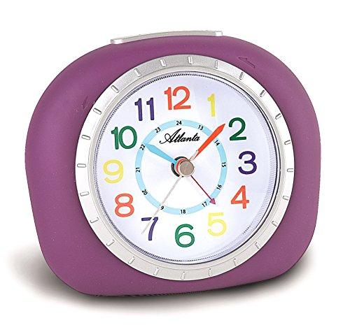 atlanta kinderwecker lernuhr lila violett m dchen analog ohne ticken licht snooze 1966 8 hikog. Black Bedroom Furniture Sets. Home Design Ideas