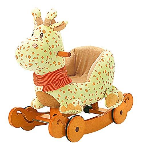 labebe baby schaukelpferd holz 2 in 1 schaukelpferd mit r der schaukeltier giraffe gelbe f r. Black Bedroom Furniture Sets. Home Design Ideas
